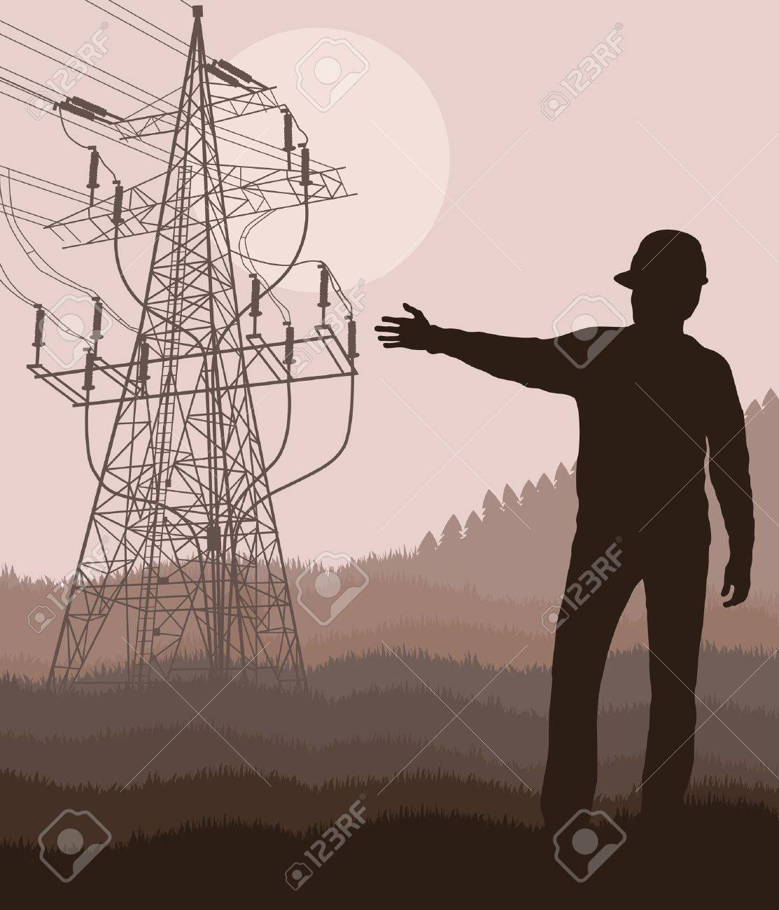 Power high voltage tower with engineer in front of it Stock Vector - 12485324