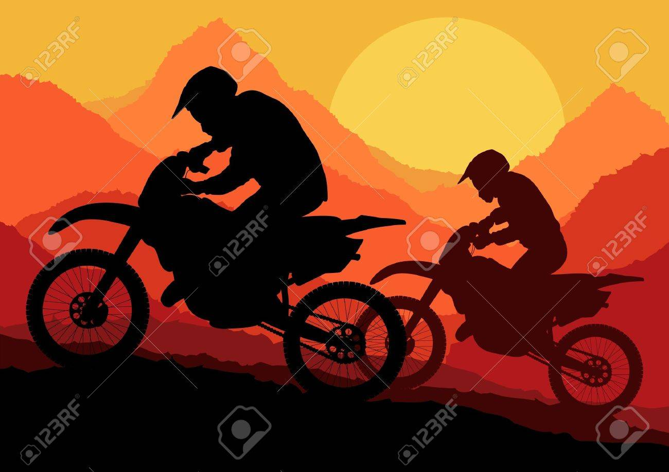Motorbike riders motorcycle silhouettes in wild mountain landscape background illustration vector Stock Vector - 12484998