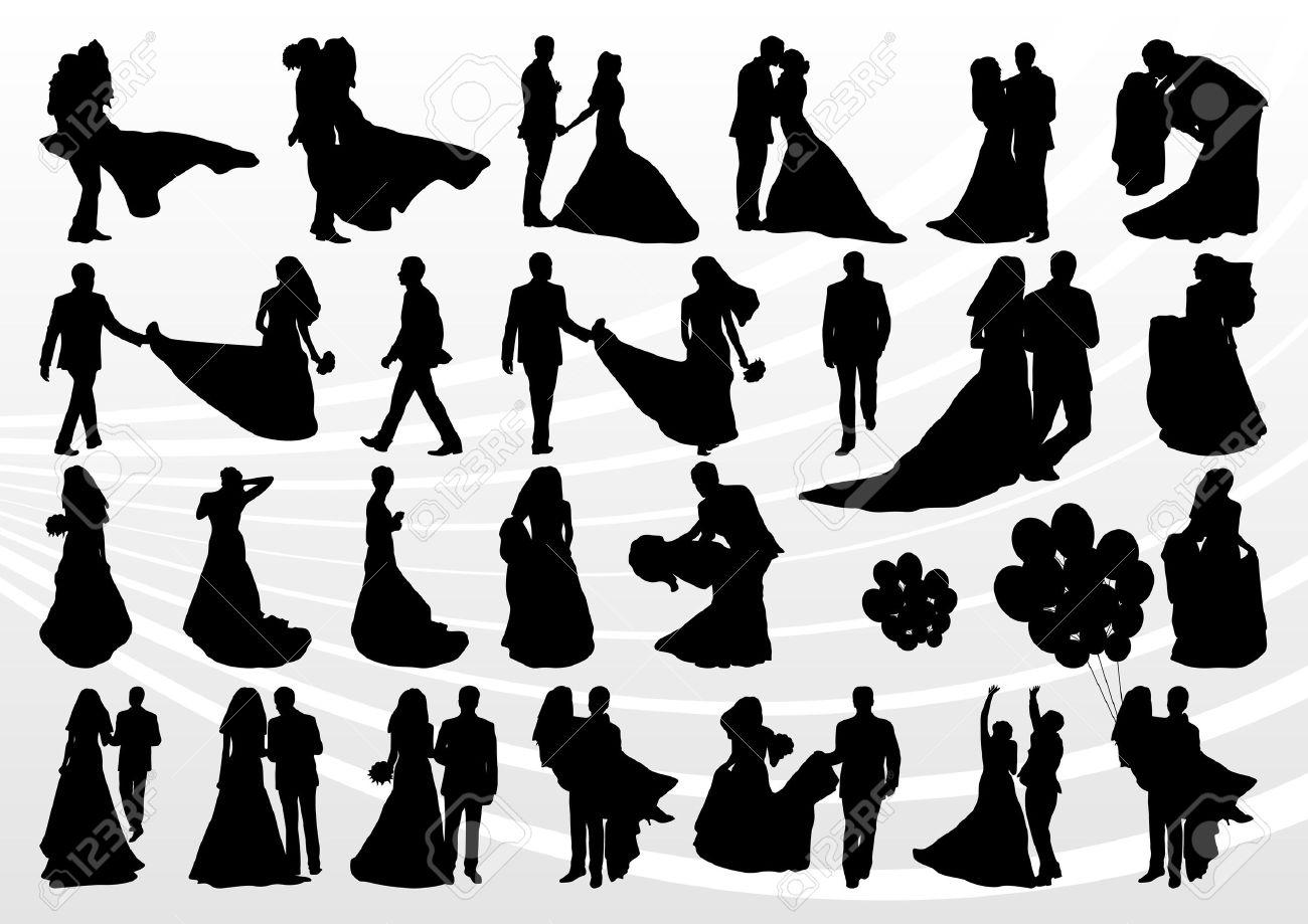 写真素材 , 結婚式のシルエット イラスト コレクション背景ベクトルで新郎新婦