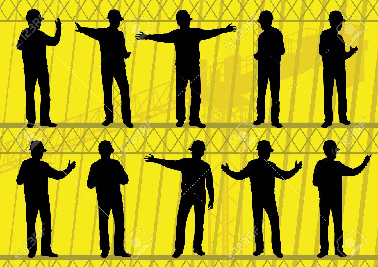 Engineers and builders silhouettes collection in construction site background illustration vector Stock Vector - 12484846