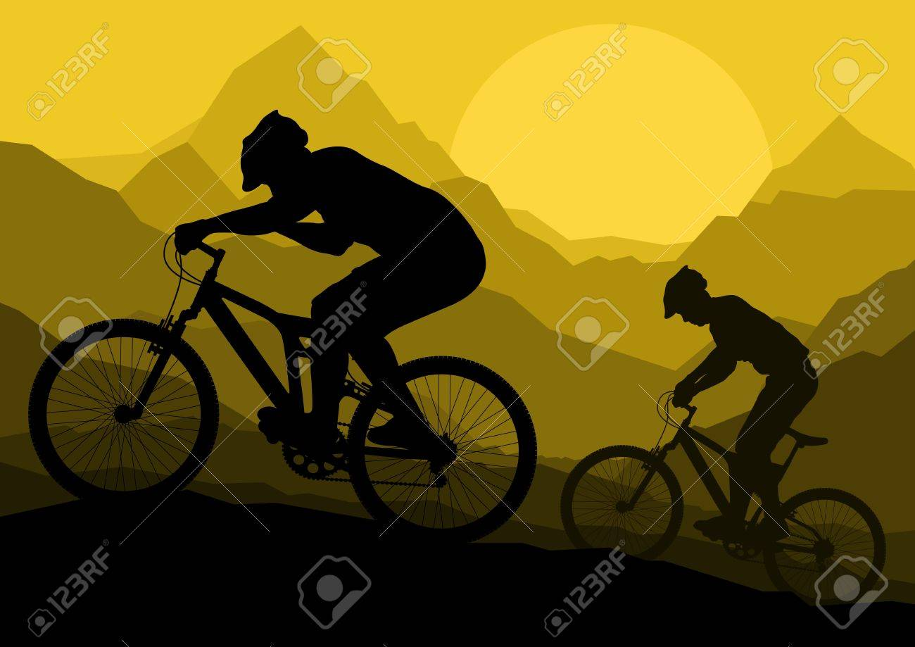 Mountain bike bicycle riders in wild mountain nature landscape background illustration Stock Vector - 13412369