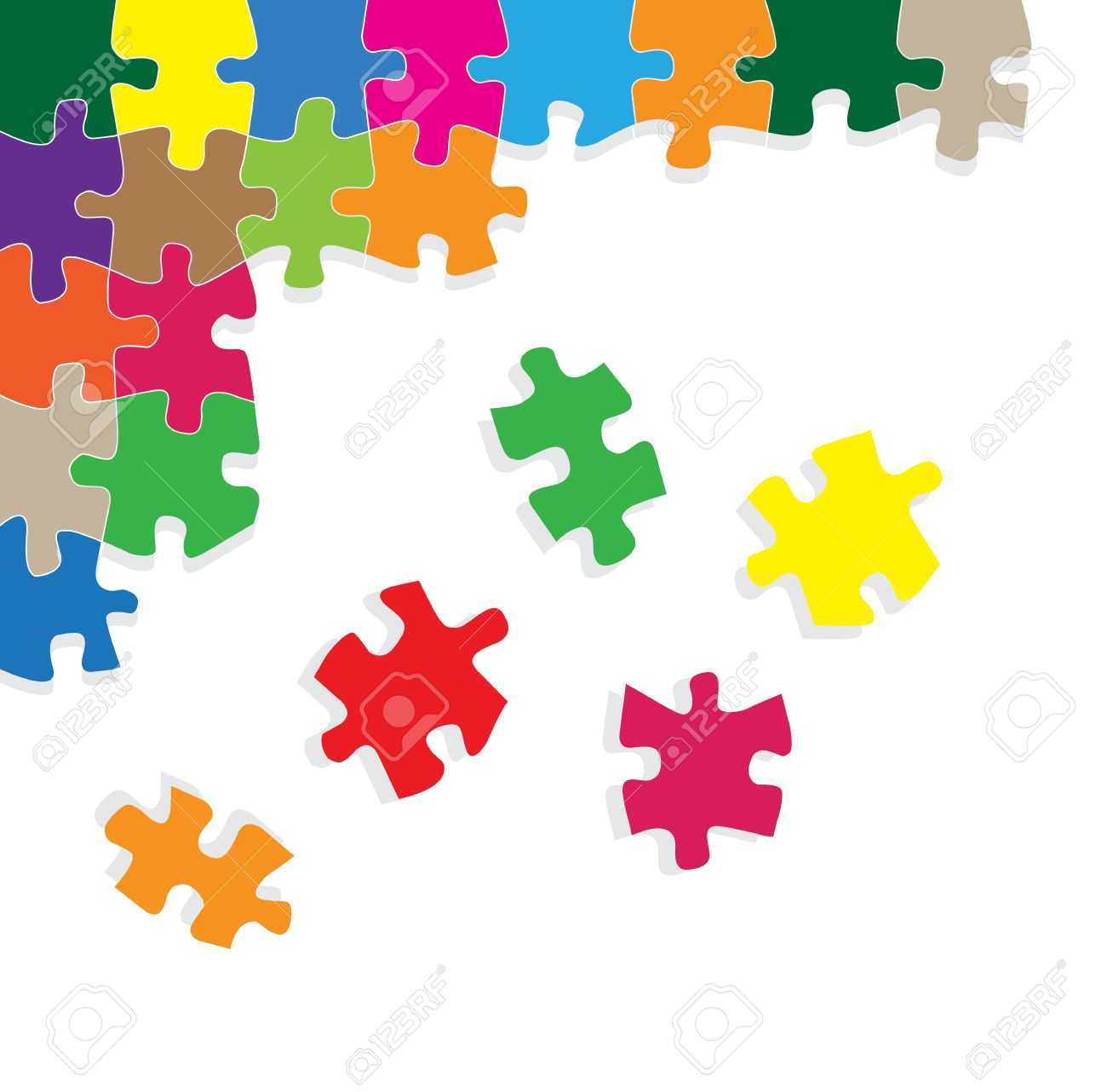 Colorful jigsaw puzzle background for poster Stock Vector - 13412305