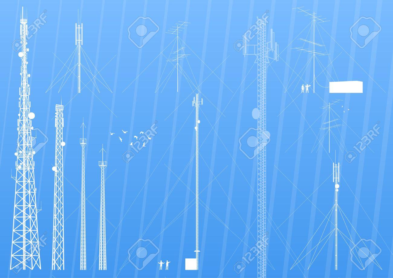 Telecommunications tower, radio or mobile phone base station background - 13412445