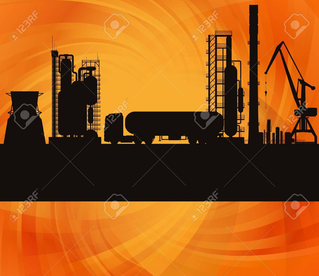 Oil refinery station and track background illustration Stock Vector - 13412715
