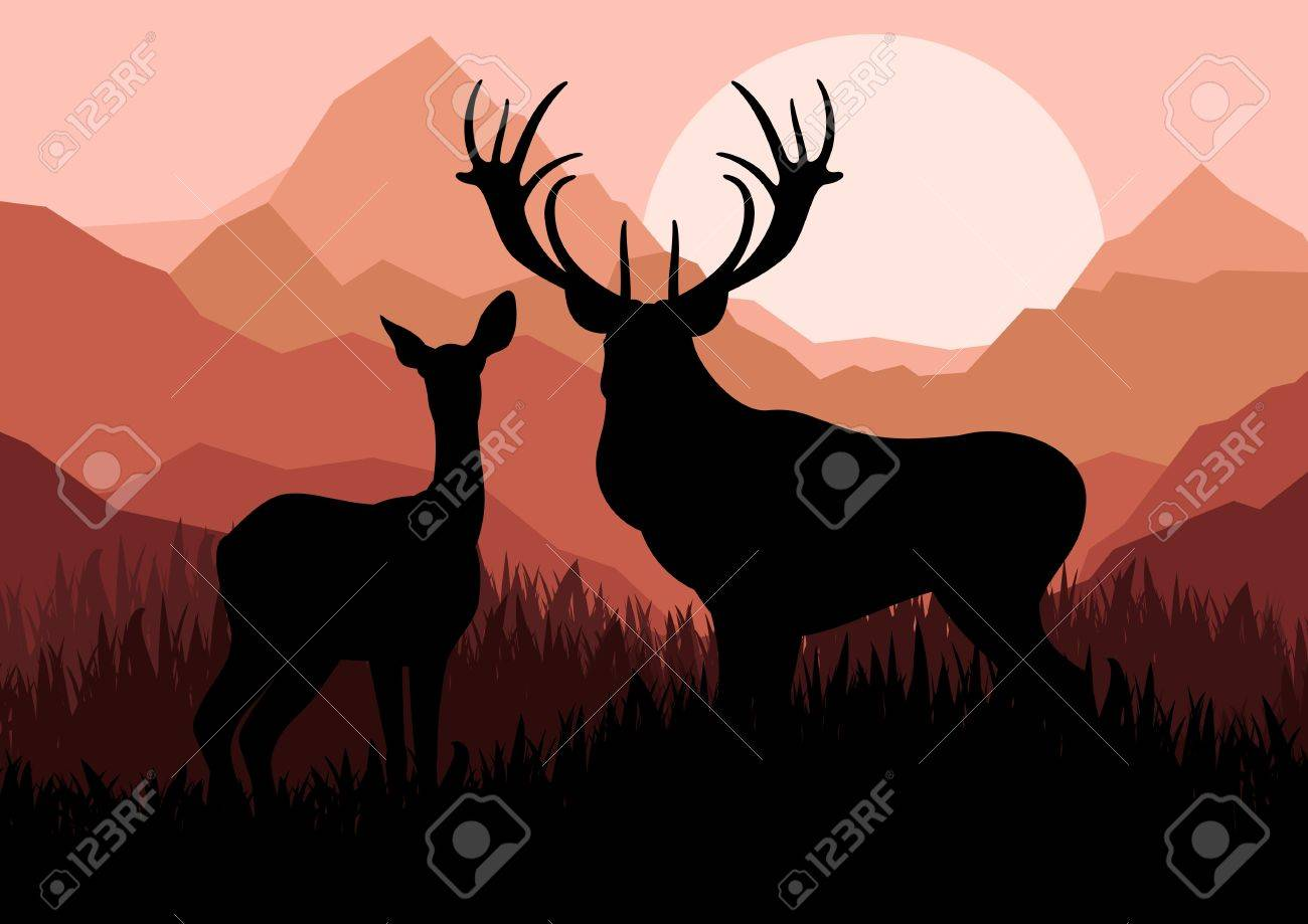 Deer family couple silhouettes in wild mountain nature landscape background illustration vector Stock Vector - 13820876