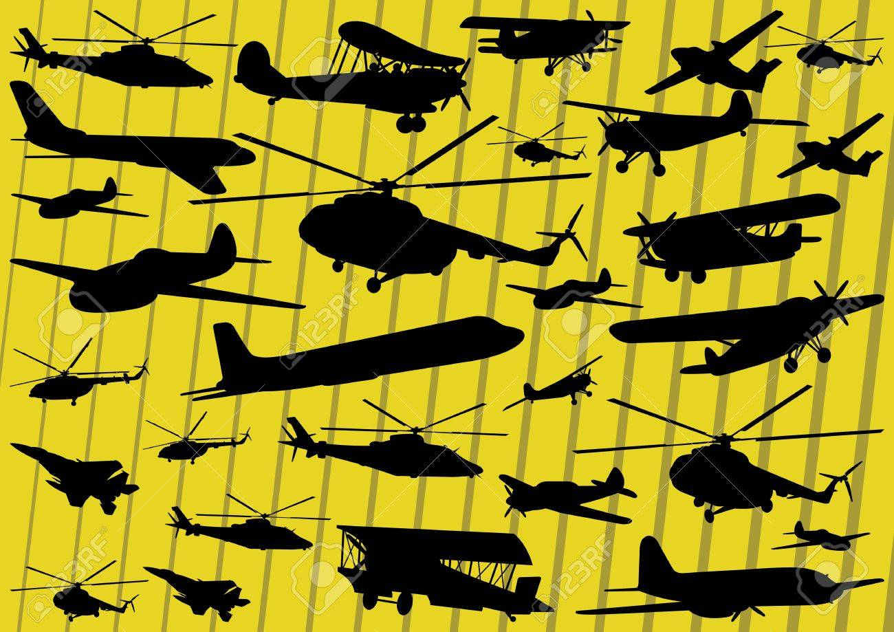 Airplanes and helicopters detailed silhouettes illustration collection background vector Stock Vector - 13820866
