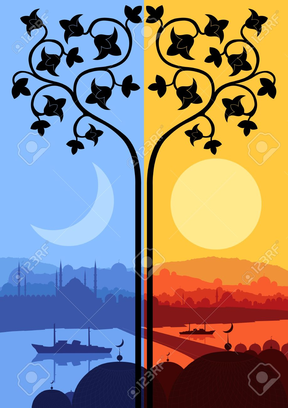 Vintage Arabic city landscape night and day cycle illustration background vector Stock Vector - 13820882