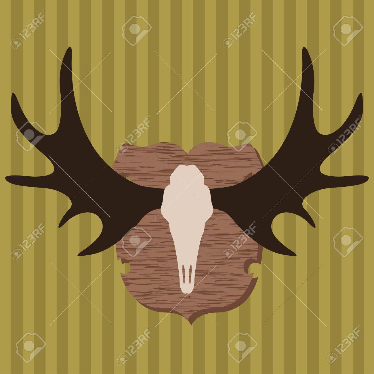 Moose head horns hunting trophy illustration background vector for poster Stock Vector - 14355881