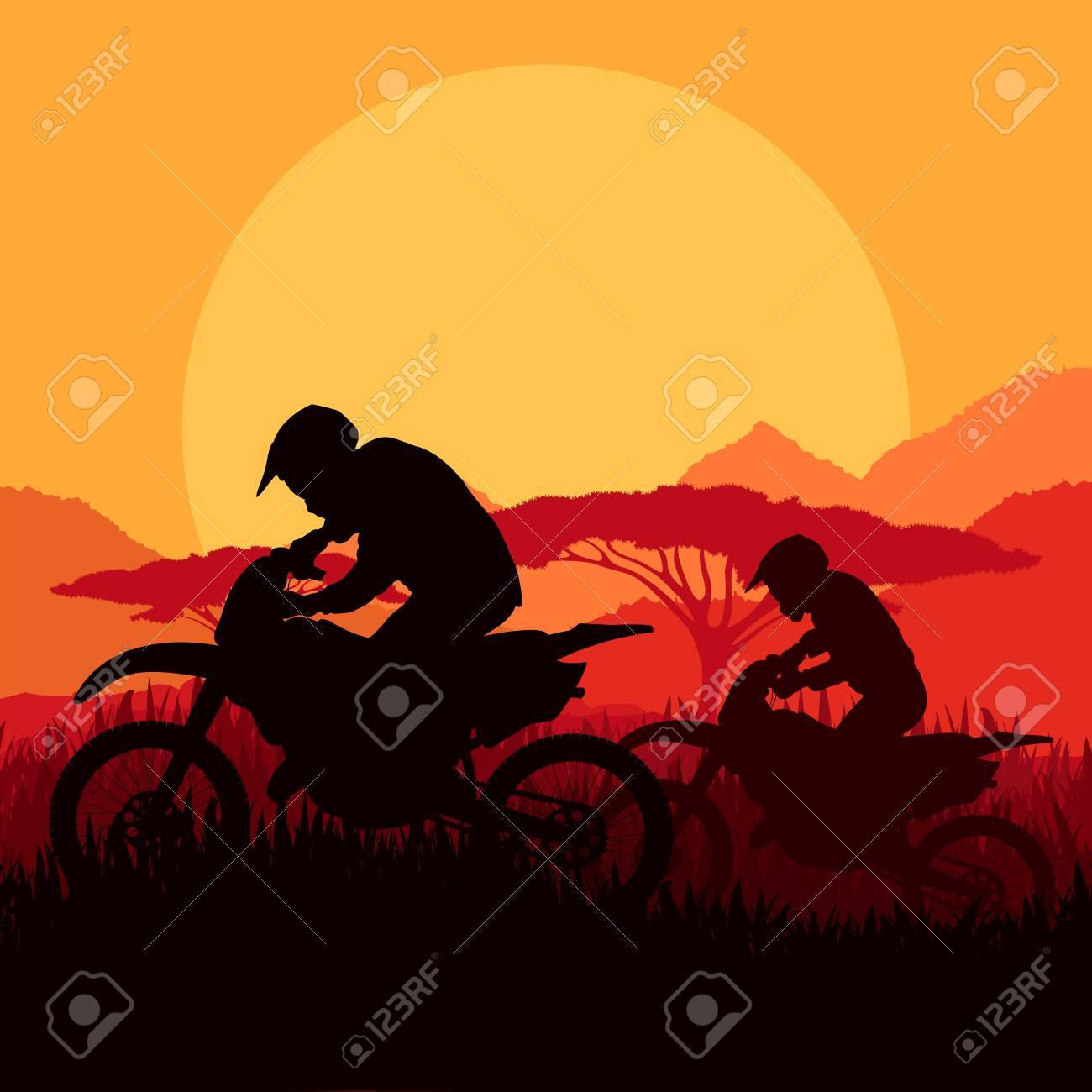 Motorbike riders motorcycle silhouettes in wild mountain landscape background illustration vector Stock Vector - 15272097