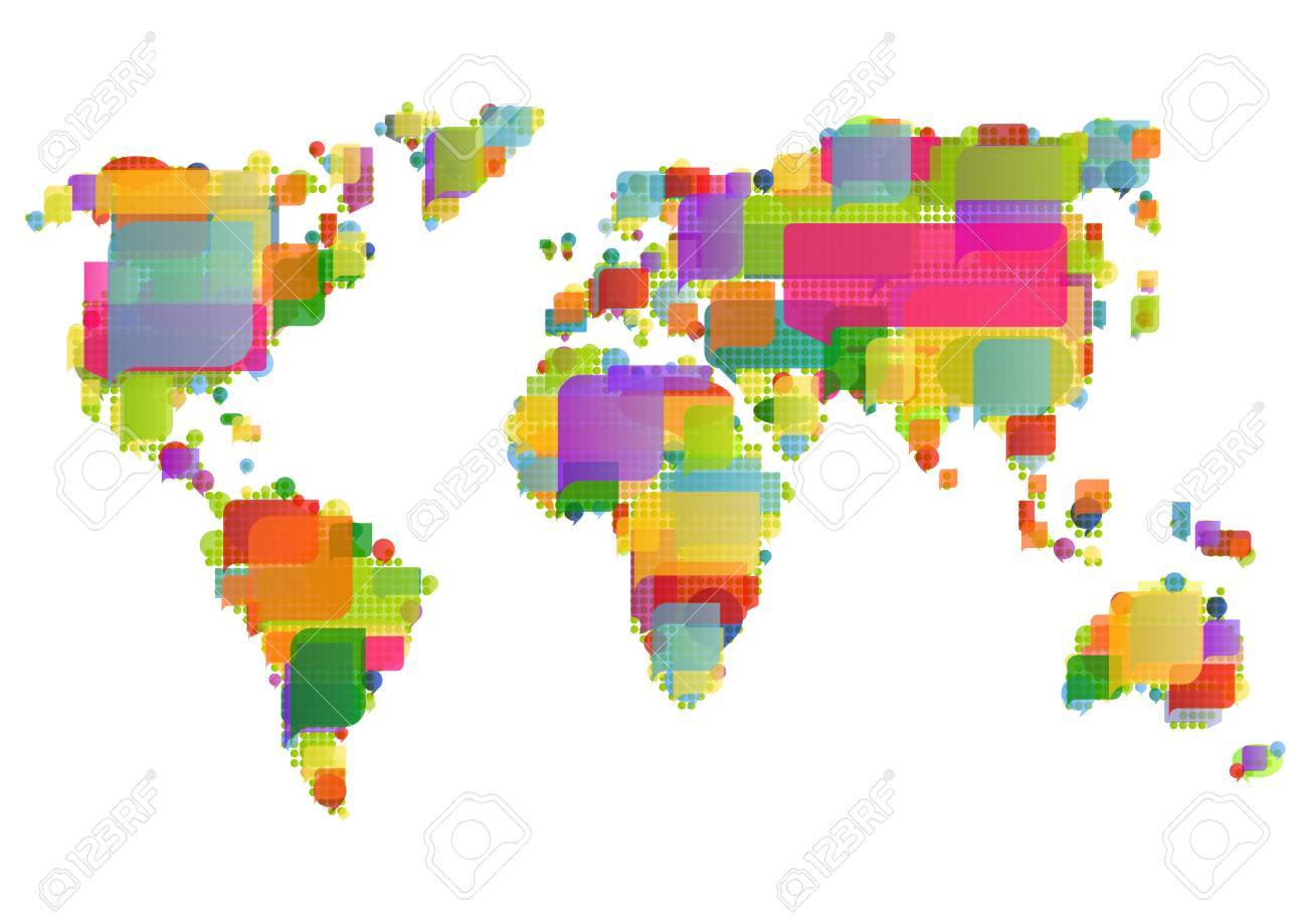 World map made of colorful speech bubbles concept illustration background vector Stock Vector - 15272122