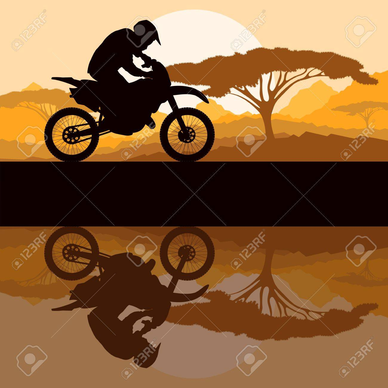 Motorbike rider motorcycle silhouette in wild mountain landscape background illustration vector Stock Vector - 15795758