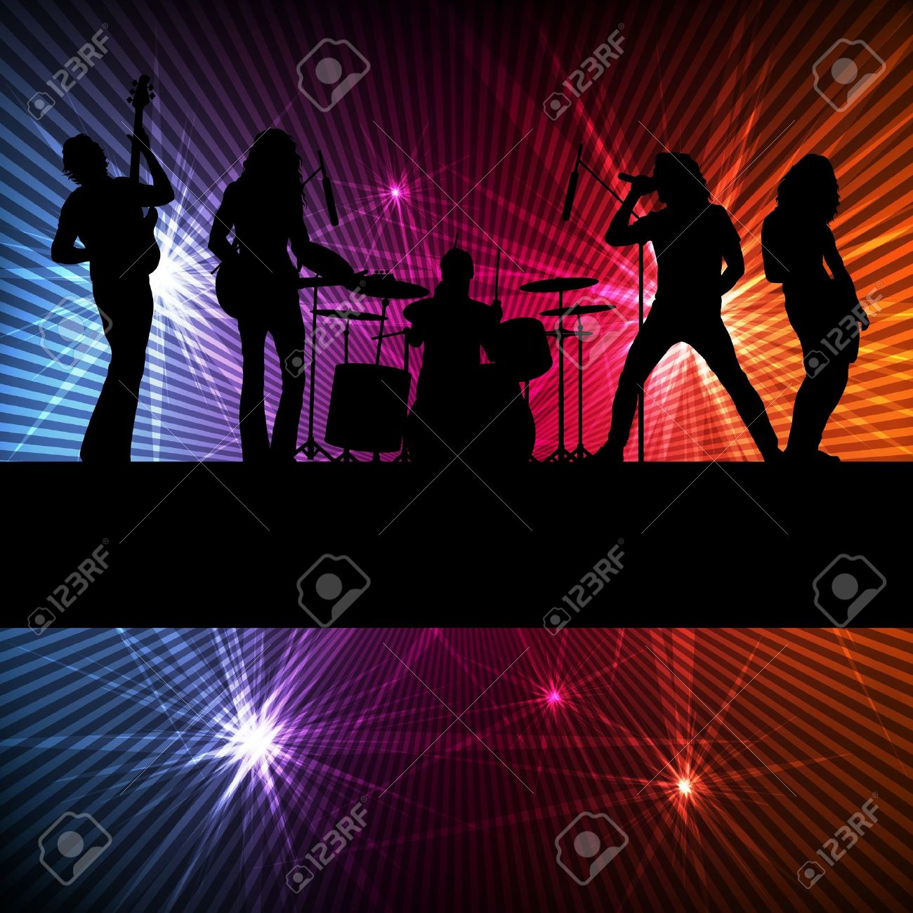 Rock band vector background with neon lights Stock Vector - 15796001