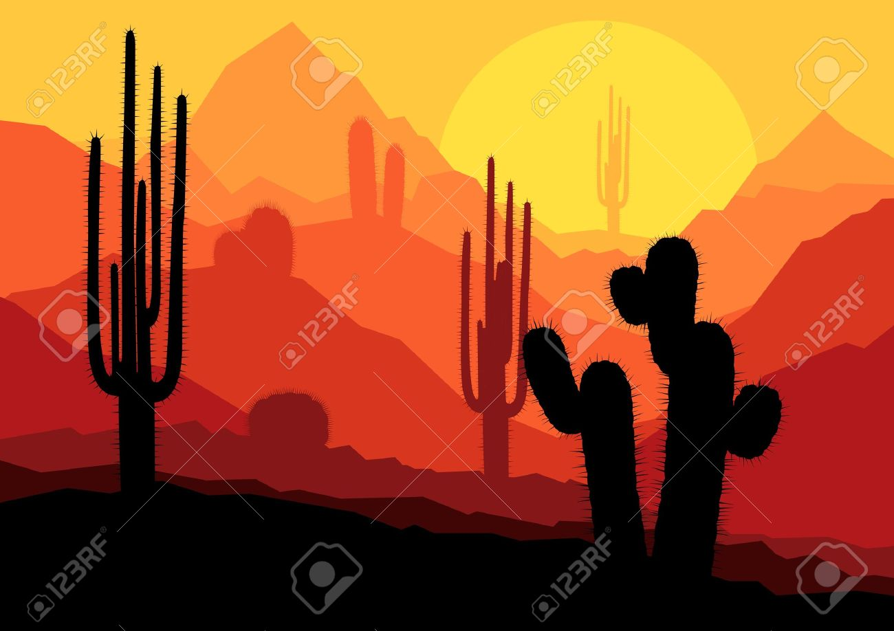 Cactus plants in Mexico desert sunset vector background Stock Vector - 16289035
