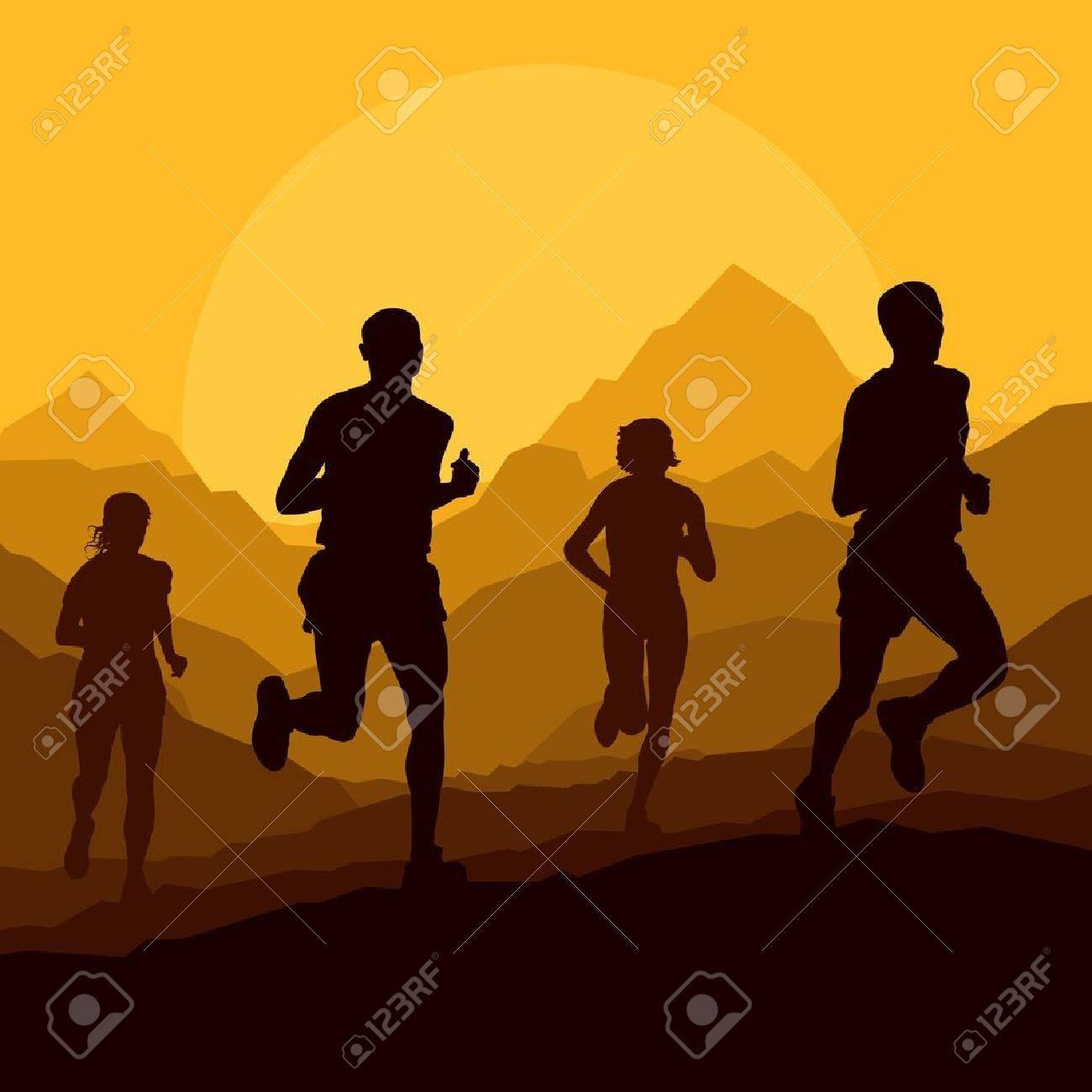 Marathon runners in wild nature mountain landscape background illustration vector Stock Vector - 16289048