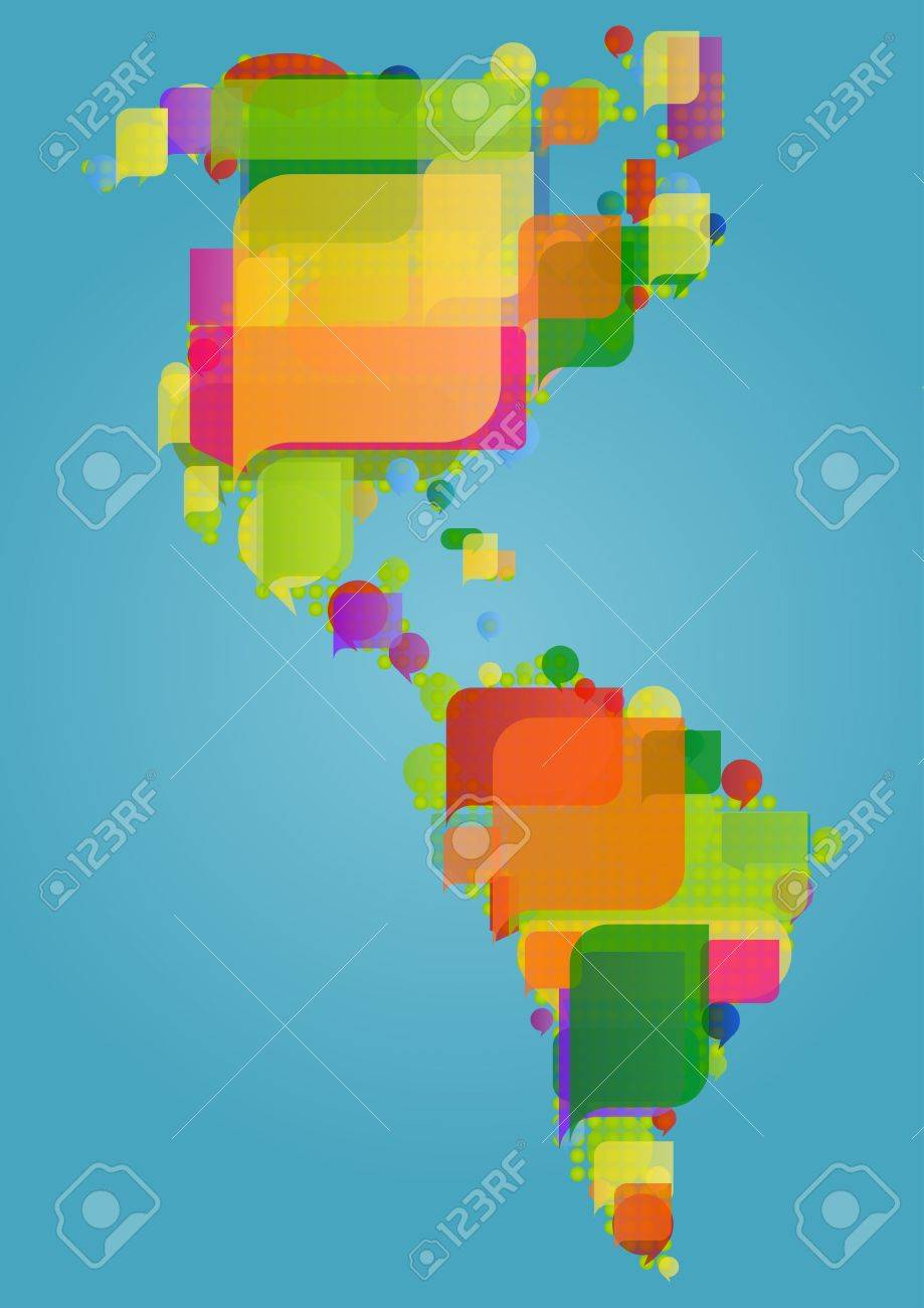 North south and central america continent world map made of north south and central america continent world map made of colorful speech bubbles concept illustration gumiabroncs Images