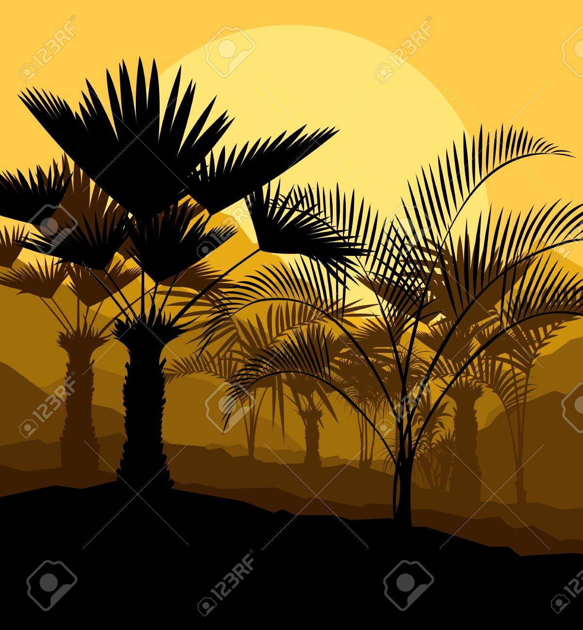 Tropical palm tree background vector for poster Stock Vector - 16289008