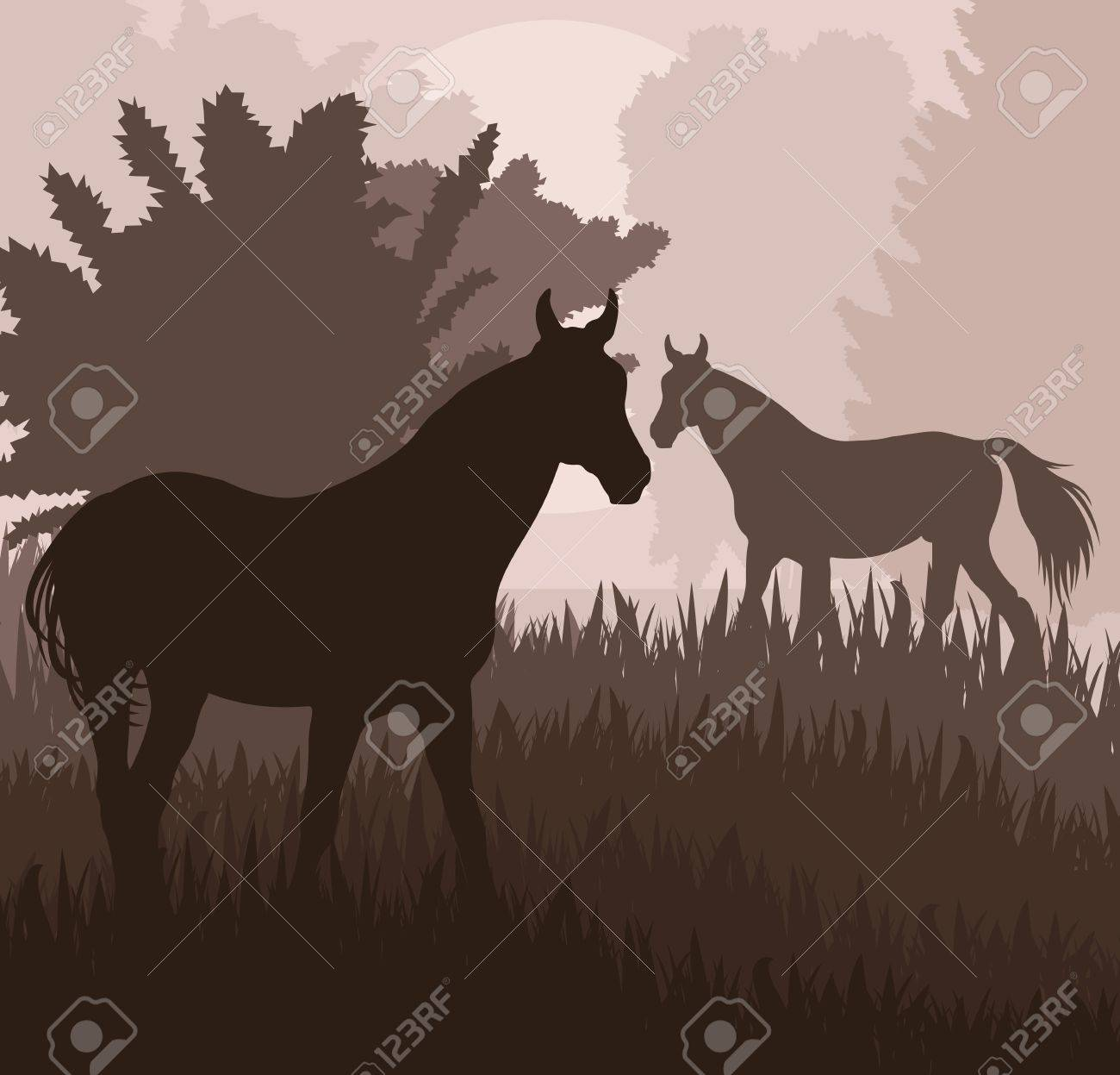 Horses in field vector background for poster Stock Vector - 16289086