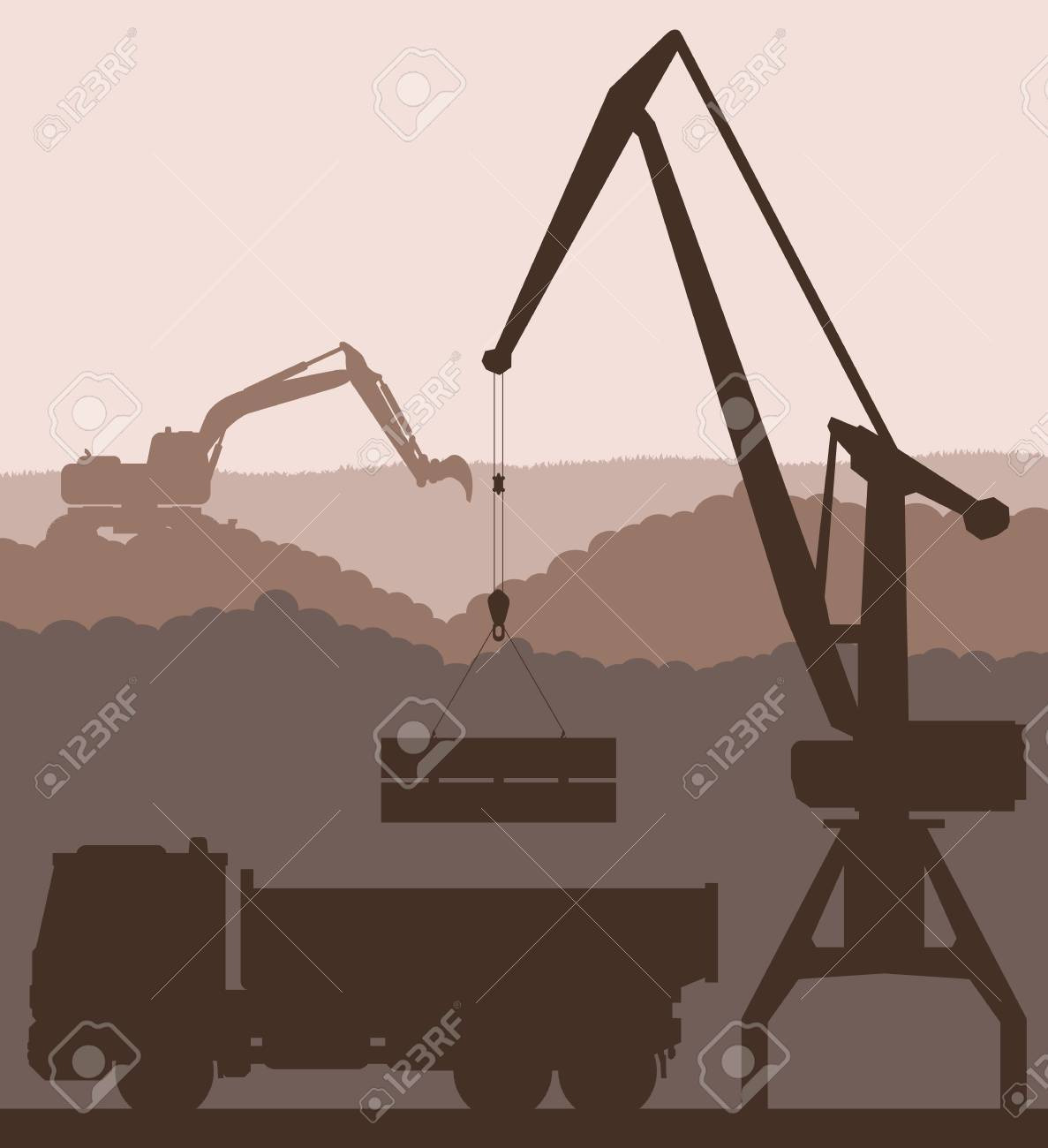 Building site and truck vector background for poster Stock Vector - 16289051