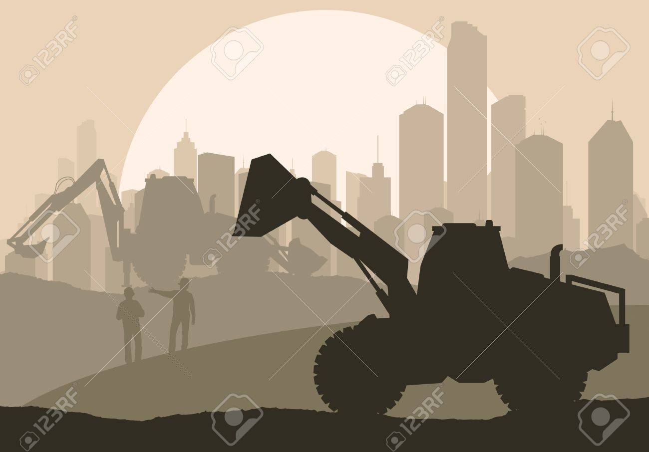 Excavator loader at construction site with raised bucket vector background Stock Vector - 16288987