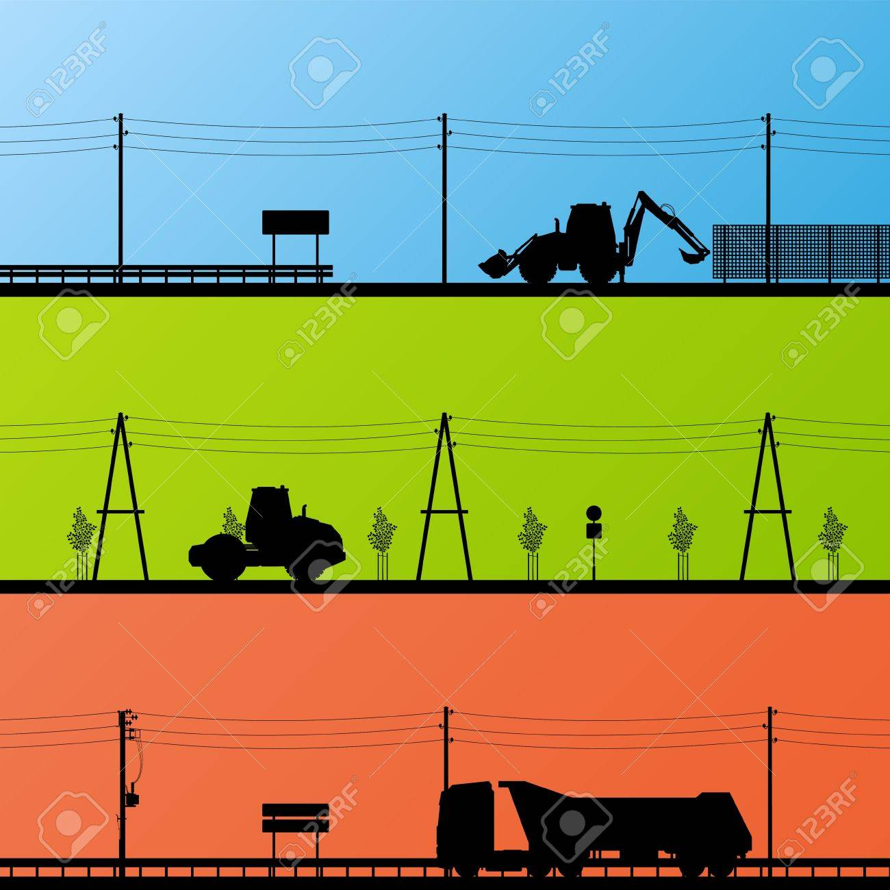 Highway roadway construction site roadwork landscape and heavy duty trucks and tractors detailed silhouettes illustration collection background vector Stock Vector - 16289197