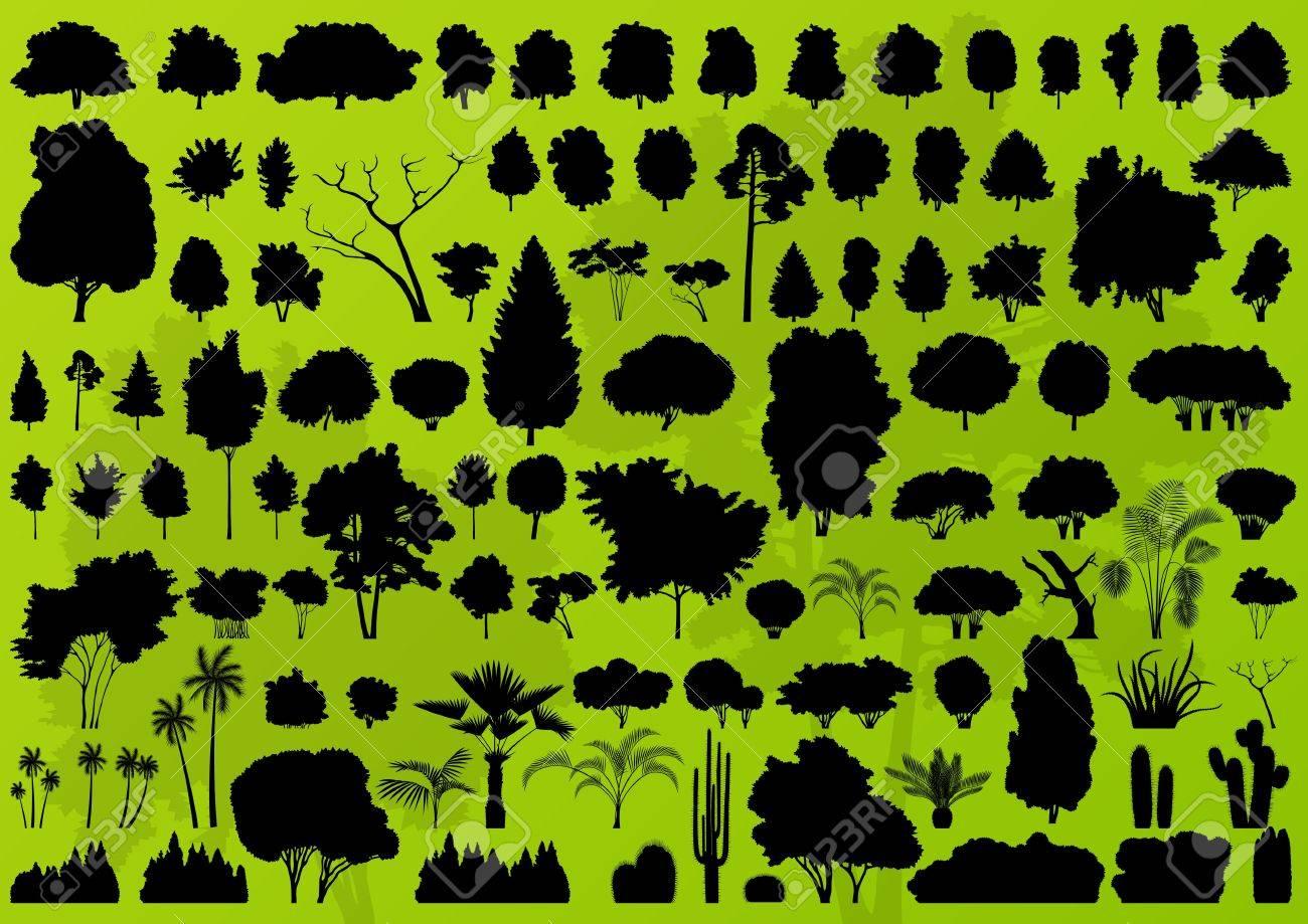 森の木のシルエット風景イラスト コレクション背景ベクトル