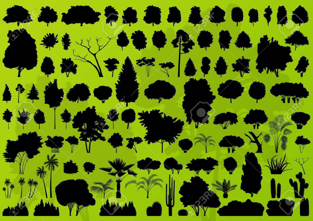Forest trees silhouettes landscape illustration collection background vector Stock Vector - 16289235