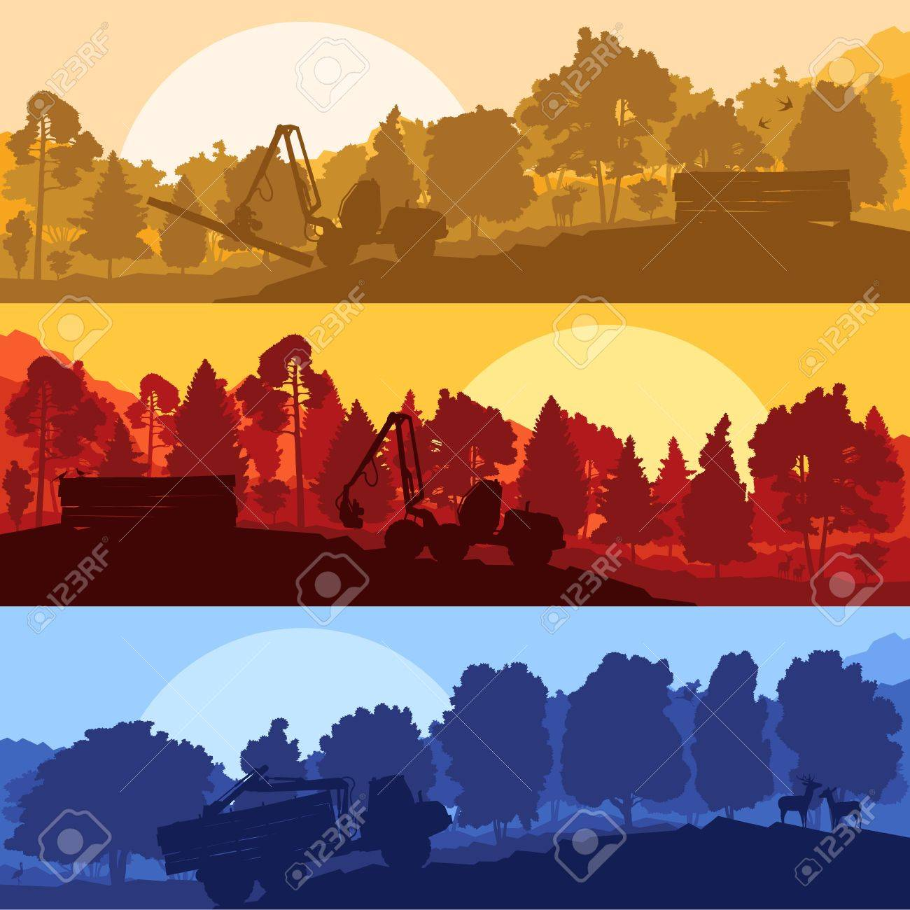 Forest cut down landscape with wood and heavy equipment track Stock Vector - 16289149