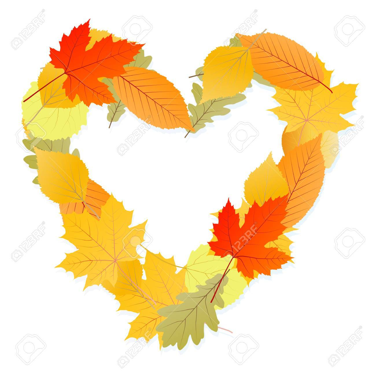 Leaf heart vector autumn background for poster Stock Vector - 16289118