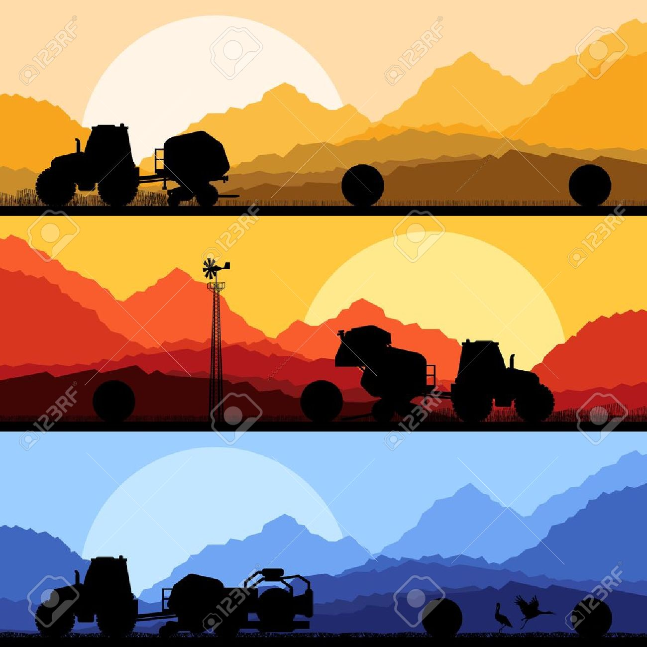 Agriculture tractors making hay bales in cultivated country fields landscape background illustration vector Stock Vector - 16289213