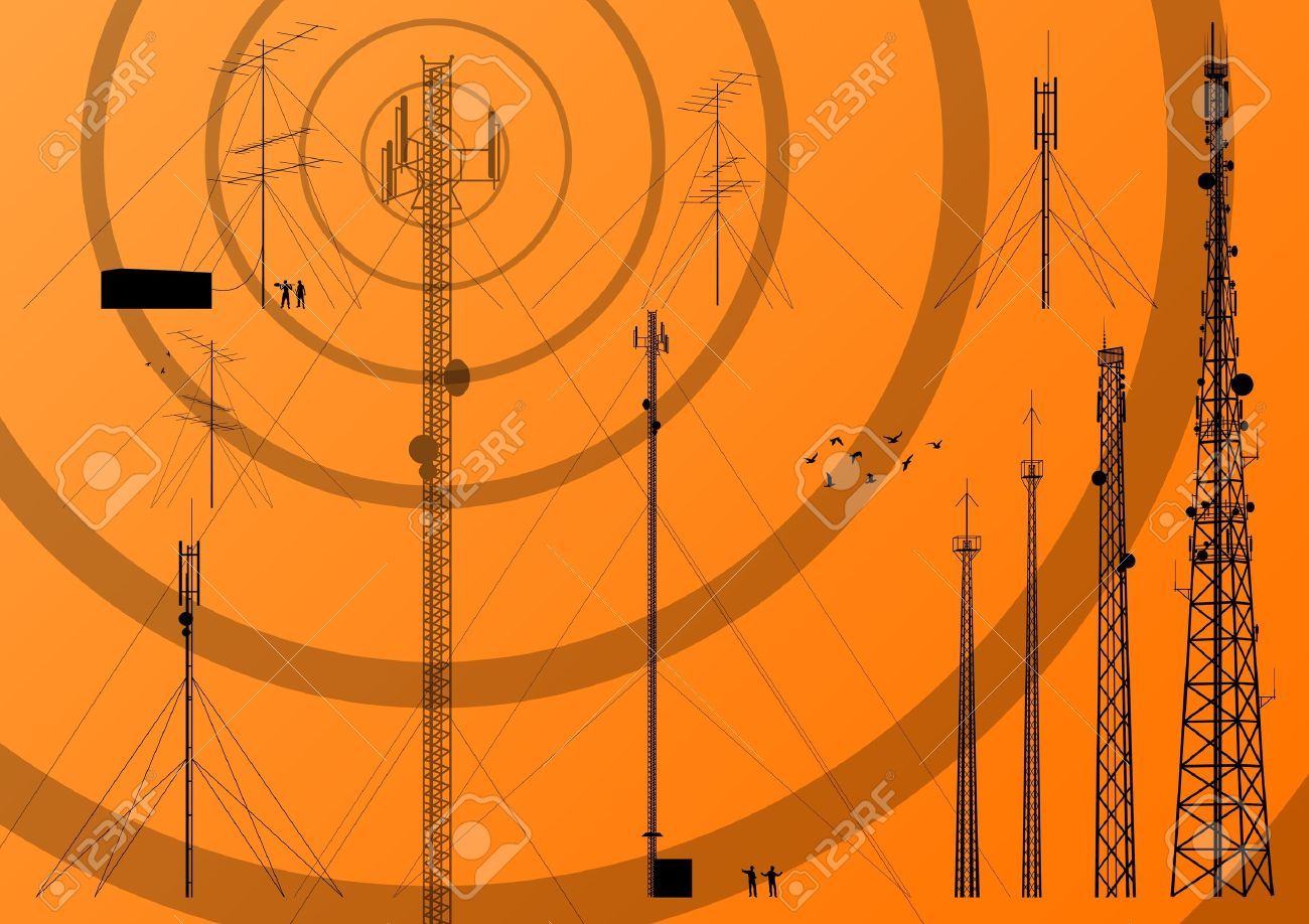 Telecommunications tower, radio, television and mobile phone base station collection vector background - 16289112