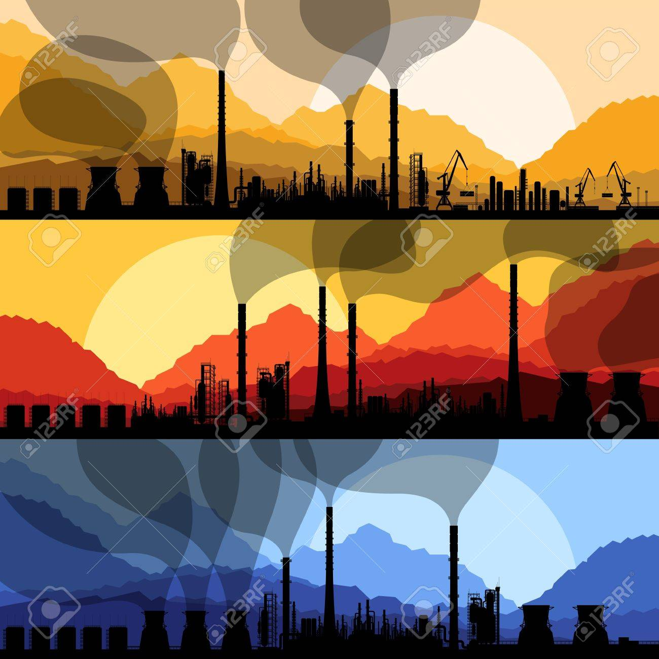Oil refinery station background vector and harbor Stock Vector - 16289146