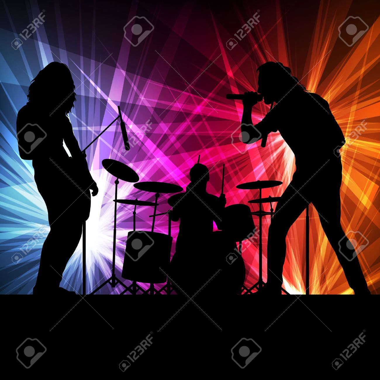 Rock band vector background with neon lights for poster Stock Vector - 16289244