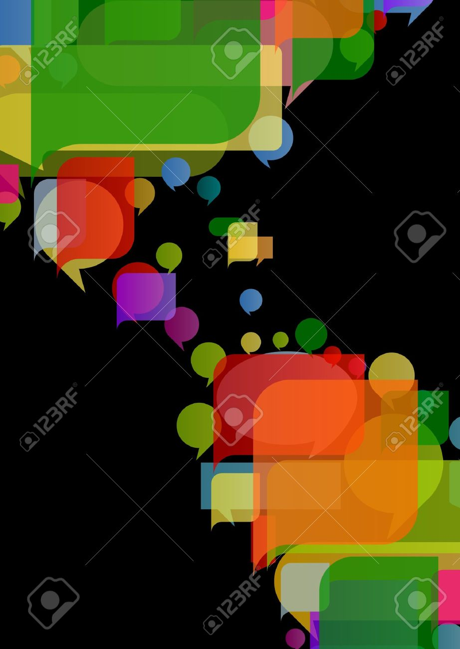 America continent world map made of colorful speech bubbles Stock Vector - 16932545