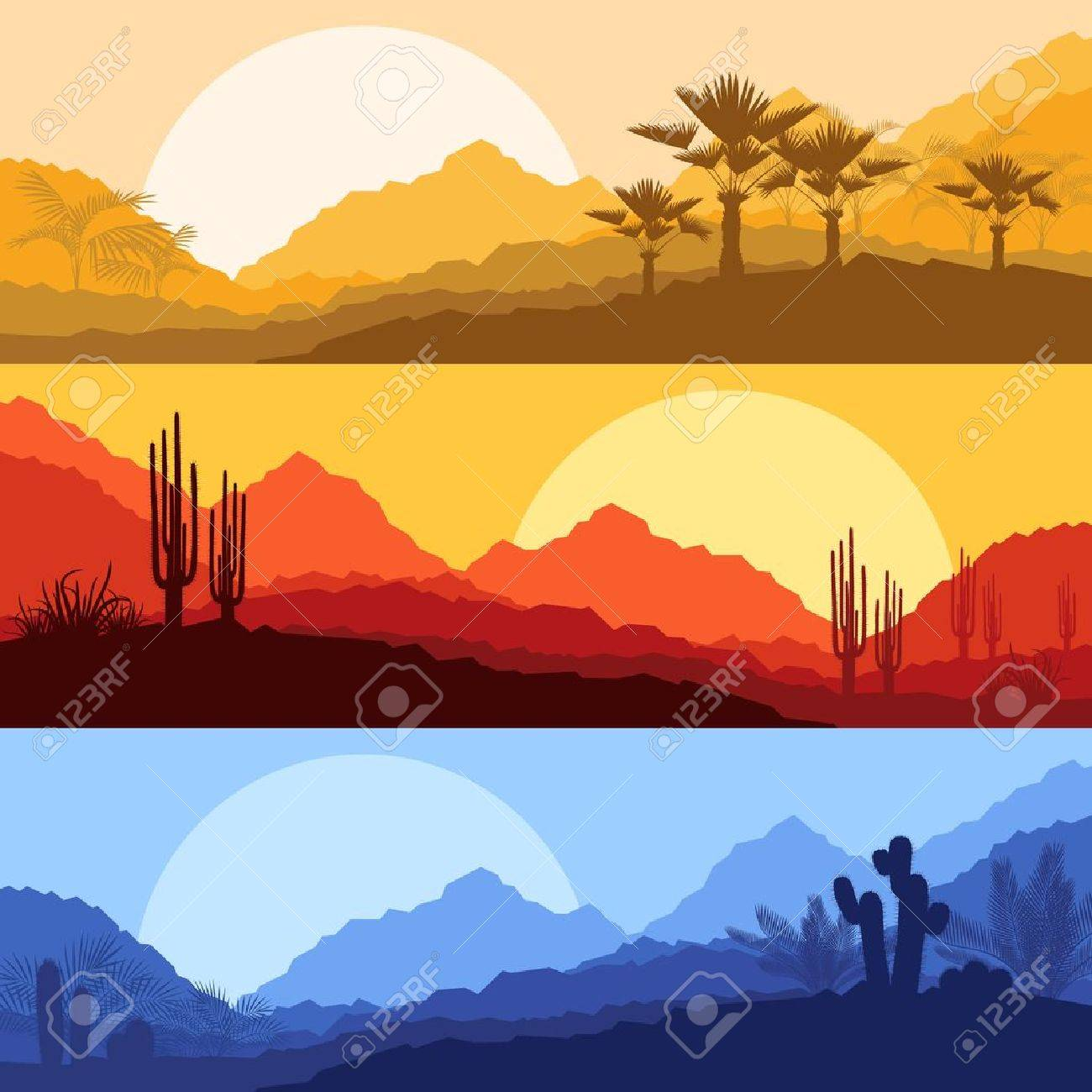 Desert wild nature landscapes with cactus and palm tree plants Stock Vector - 16932688
