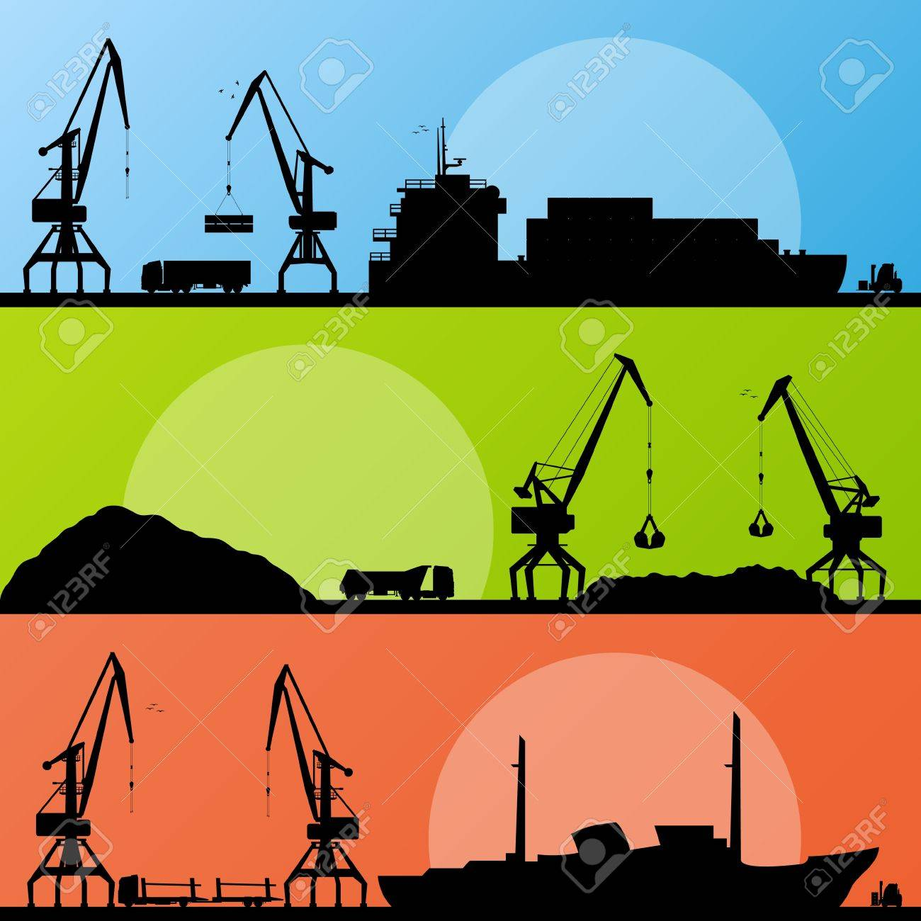 Industrial harbor, ships, transportation and crane seashore landscape Stock Vector - 16930364
