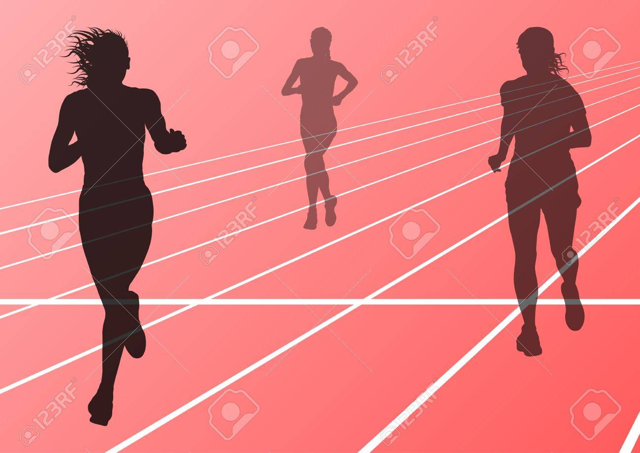 Marathon runners running silhouettes in sport stadium landscape background illustration Stock Vector - 16932468