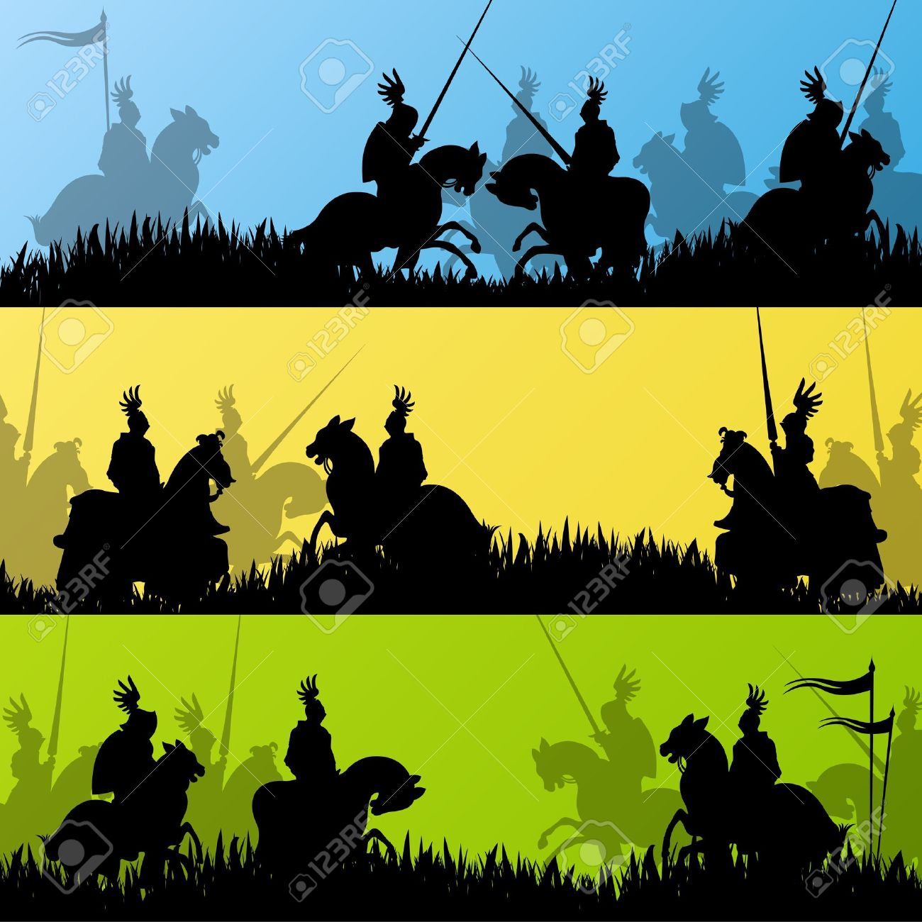 Medieval knight horseman silhouettes riding in battle field warfare illustration background Stock Vector - 16932620