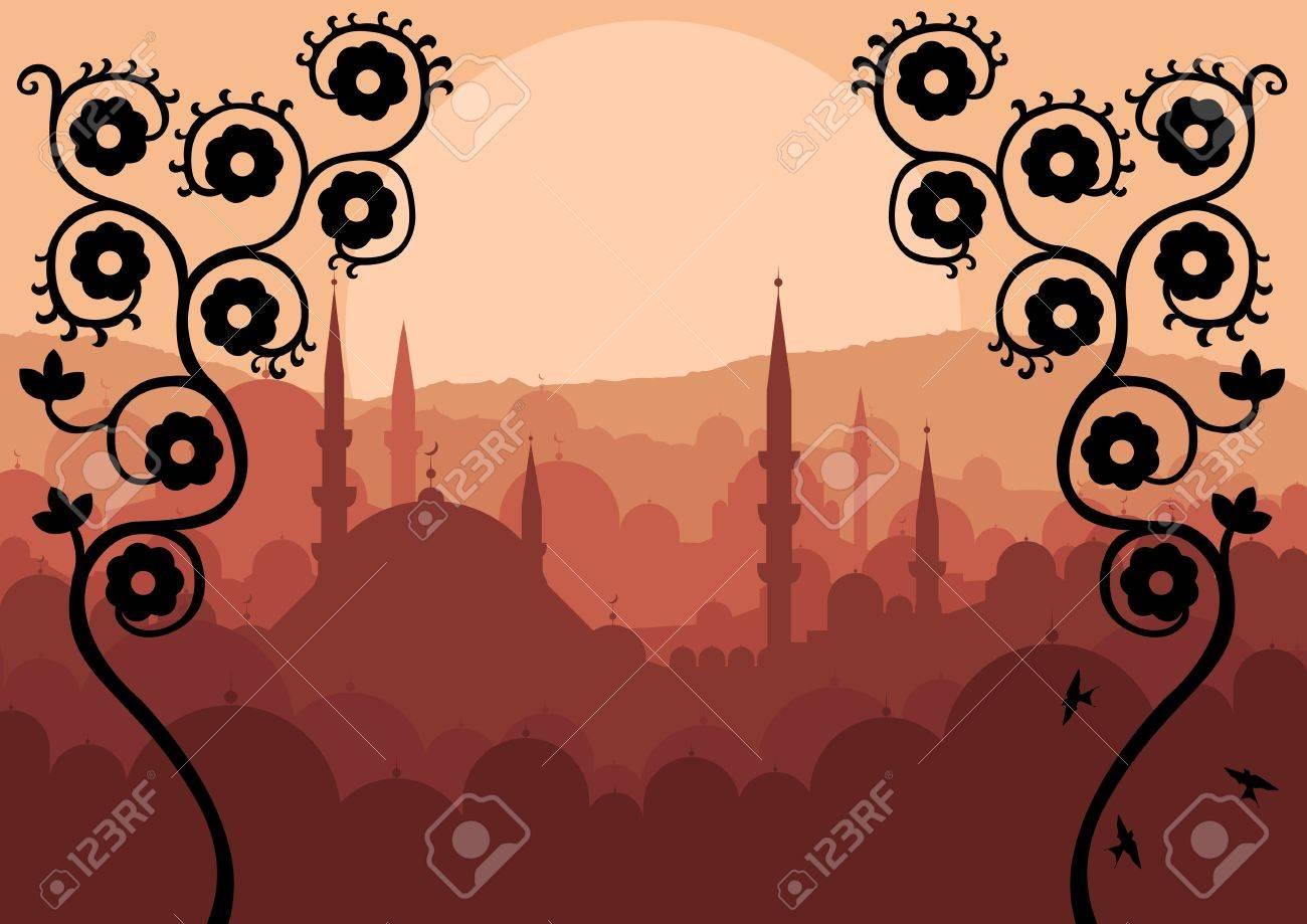 Vintage Arabic city landscape background illustration Stock Vector - 16932529