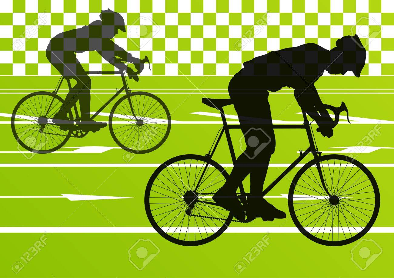Sport road bike riders bicycle silhouettes in urban city road background illustration Stock Vector - 16932524
