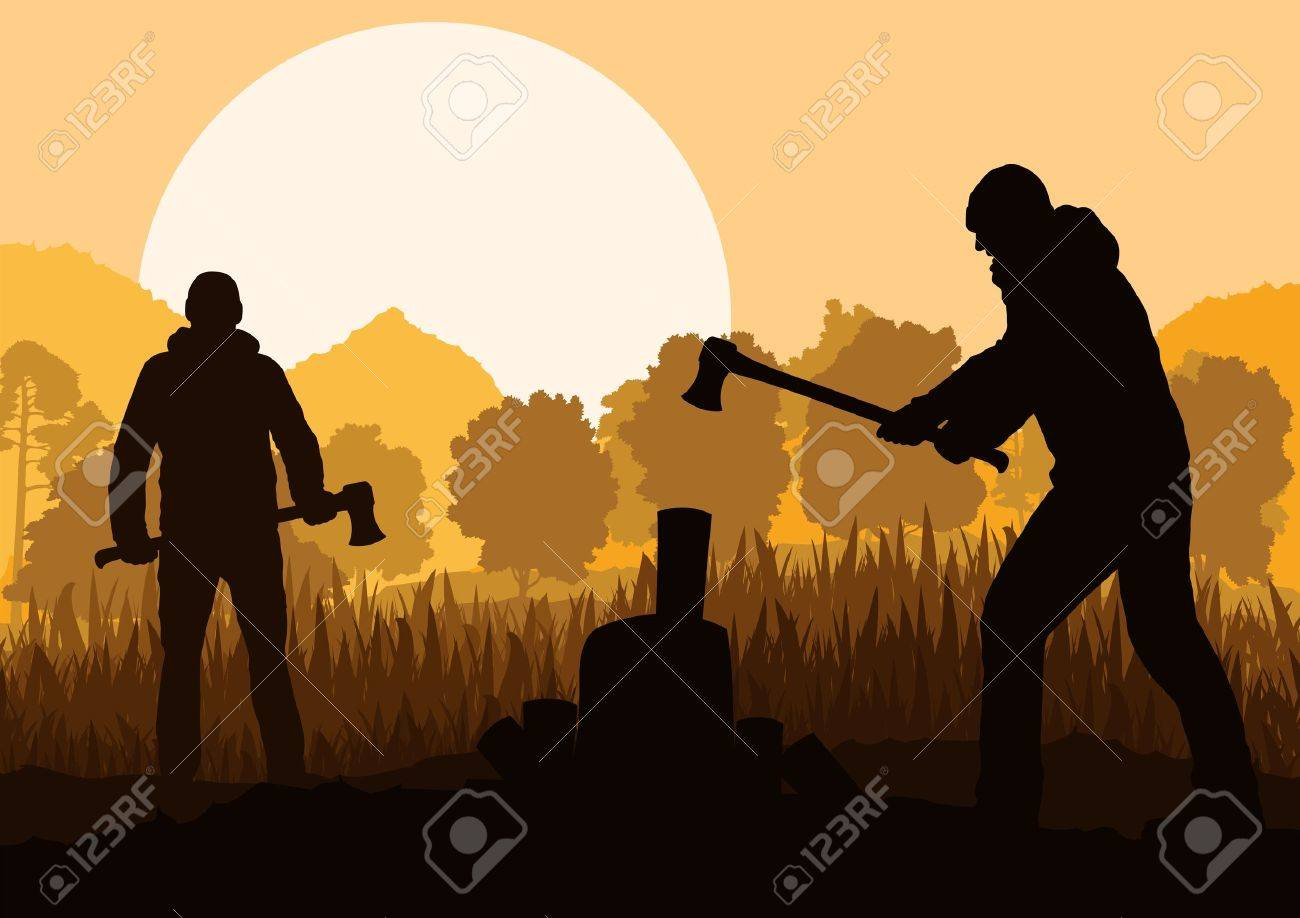 Loggers with axes in wild mountain forest nature landscape vector Stock Vector - 17408135