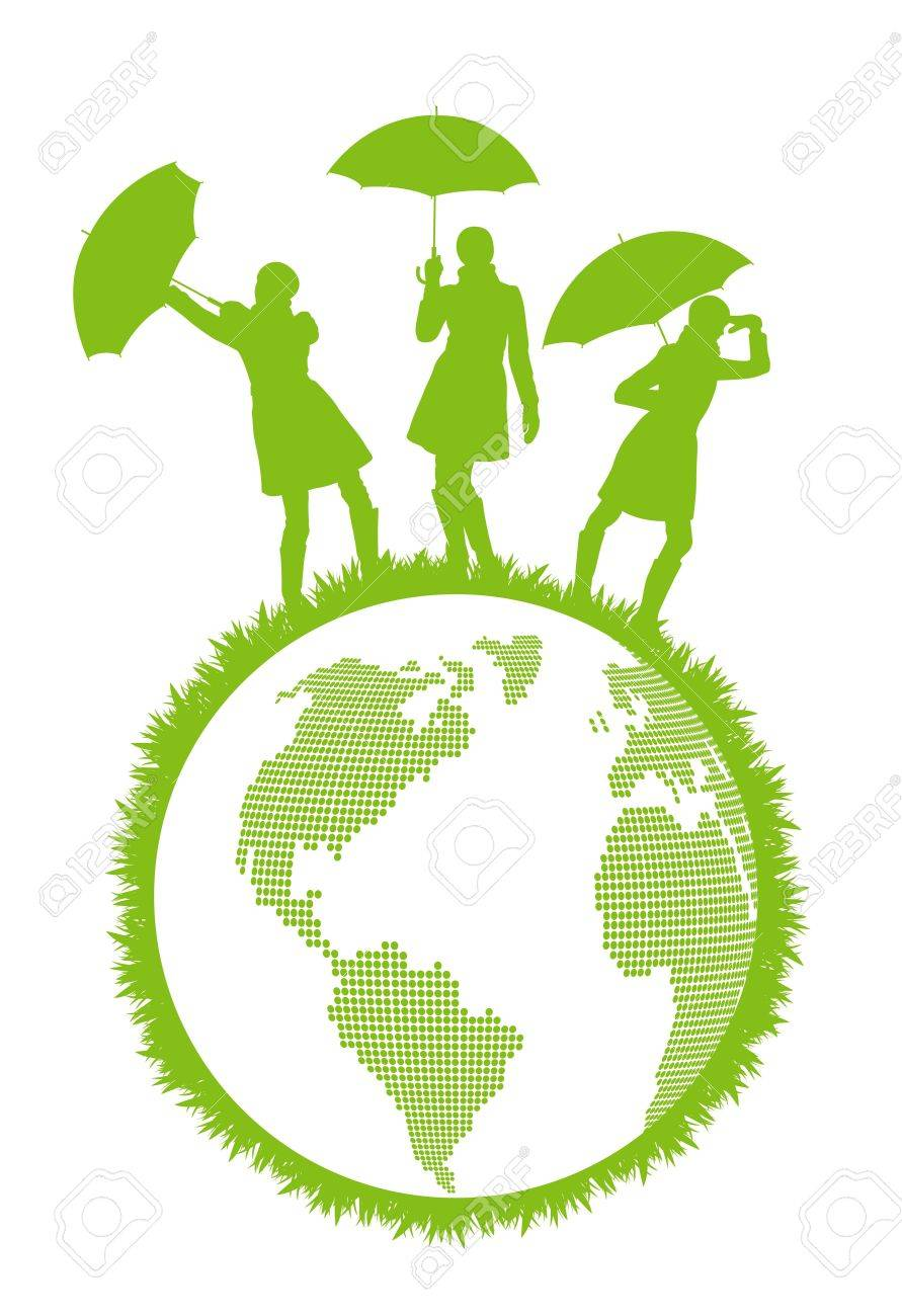 Ecology world concept with woman and umbrella protecting planet Earth Stock Vector - 17408075
