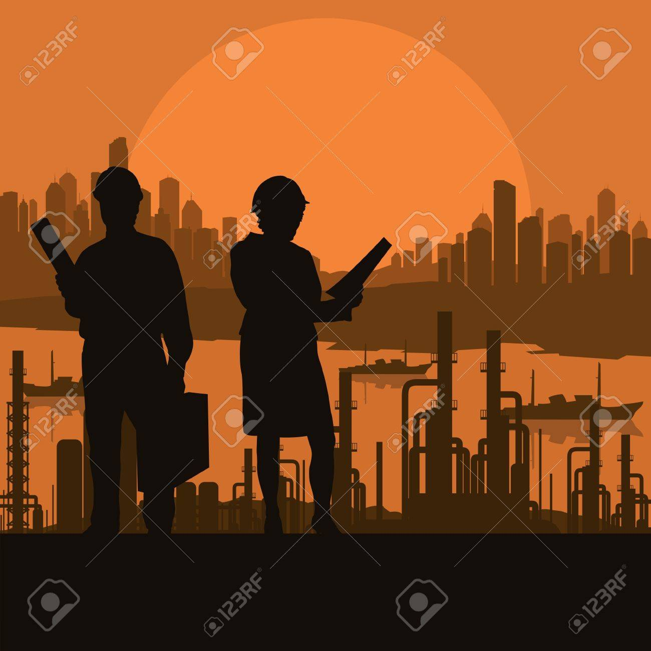Construction site and engineer vector background for poster Stock Vector - 17871071