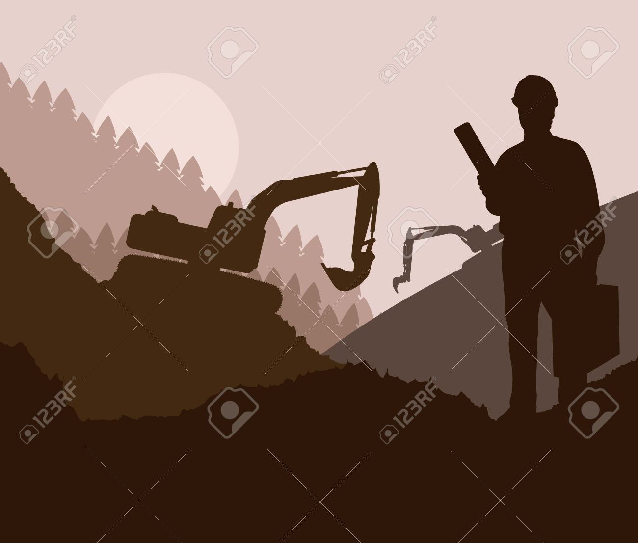 Construction site and engineer vector background for poster Stock Vector - 17870948