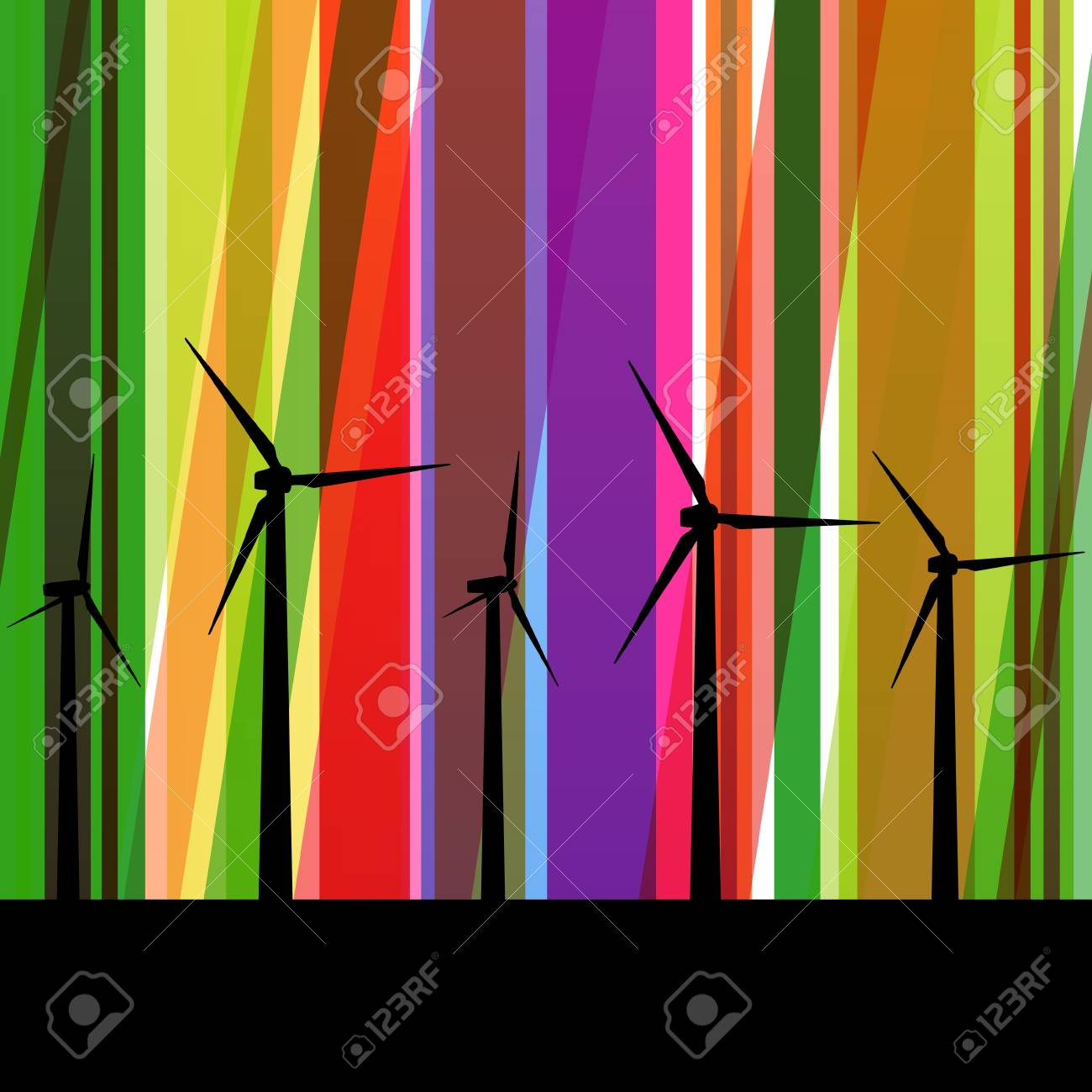 Colorful wind electricity generators abstract lines ecology silhouettes illustration background vector Stock Vector - 17871197