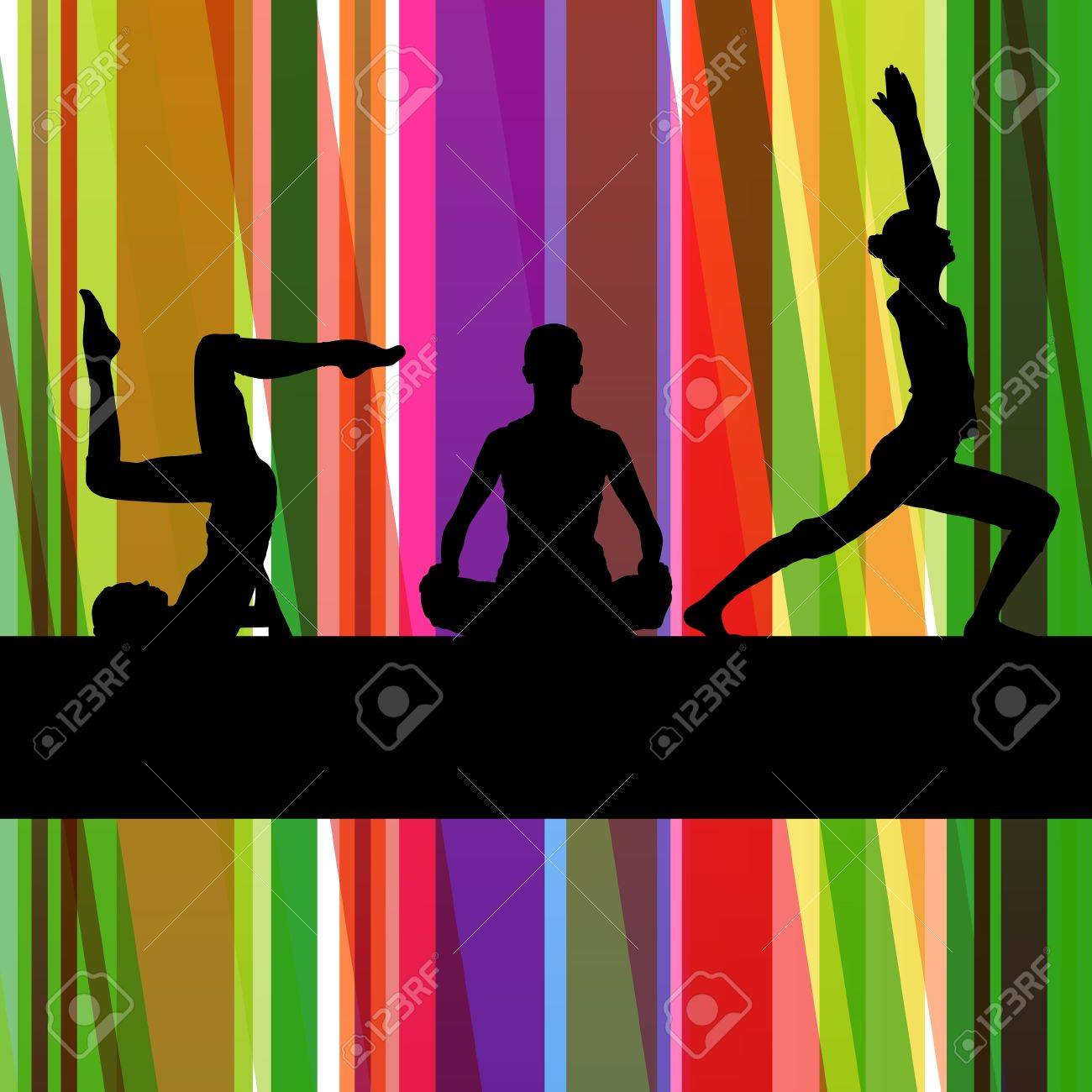 Women gymnastic exercises fitness illustration colorful line background vector Stock Vector - 17871253