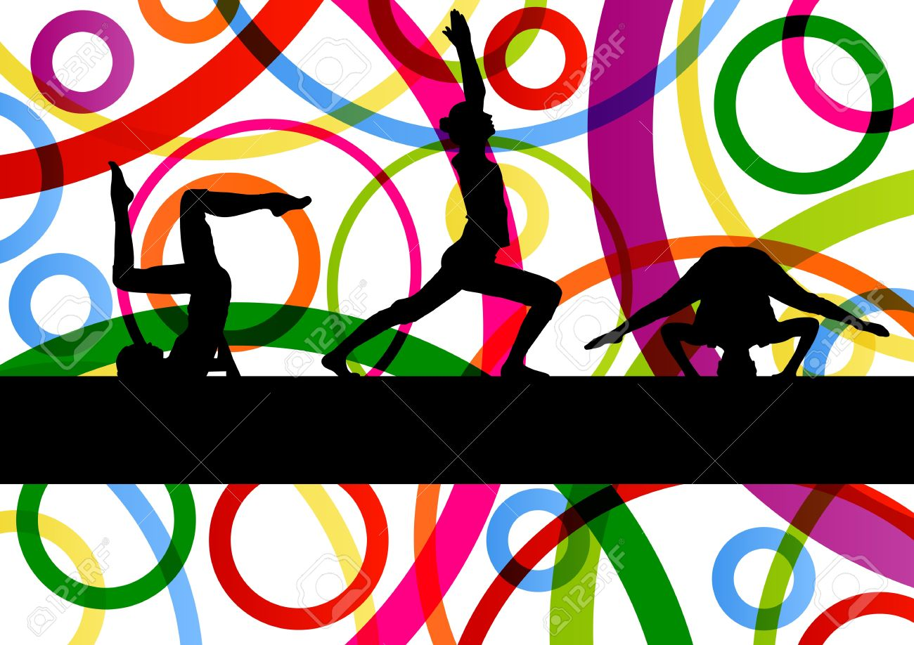 Women gymnastic exercises fitness illustration colorful line background vector Stock Vector - 17871230