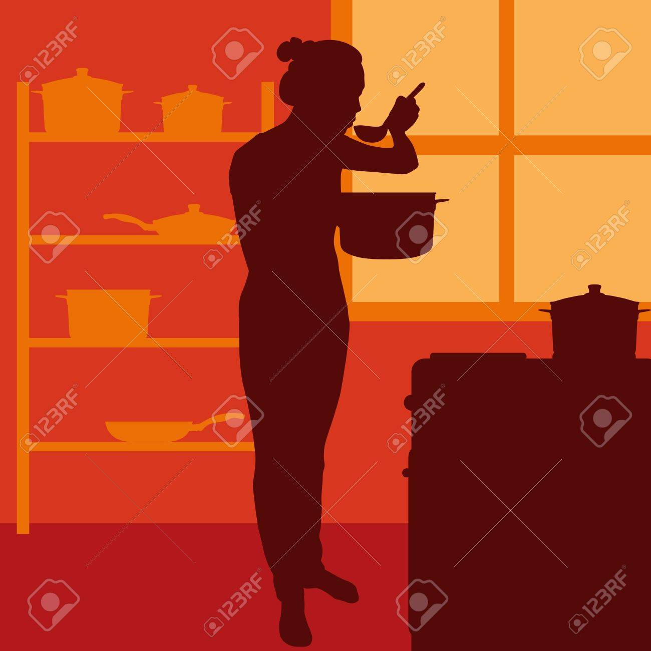 Cook woman or housewife in kitchen vector background Stock Vector - 17870926