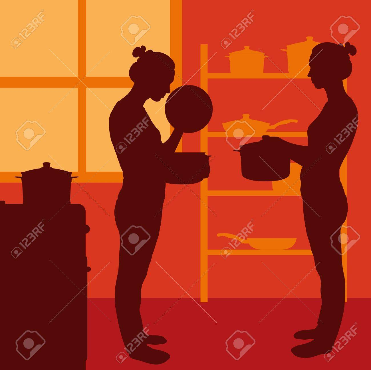 Cook woman or housewife in kitchen vector background Stock Vector - 17870928