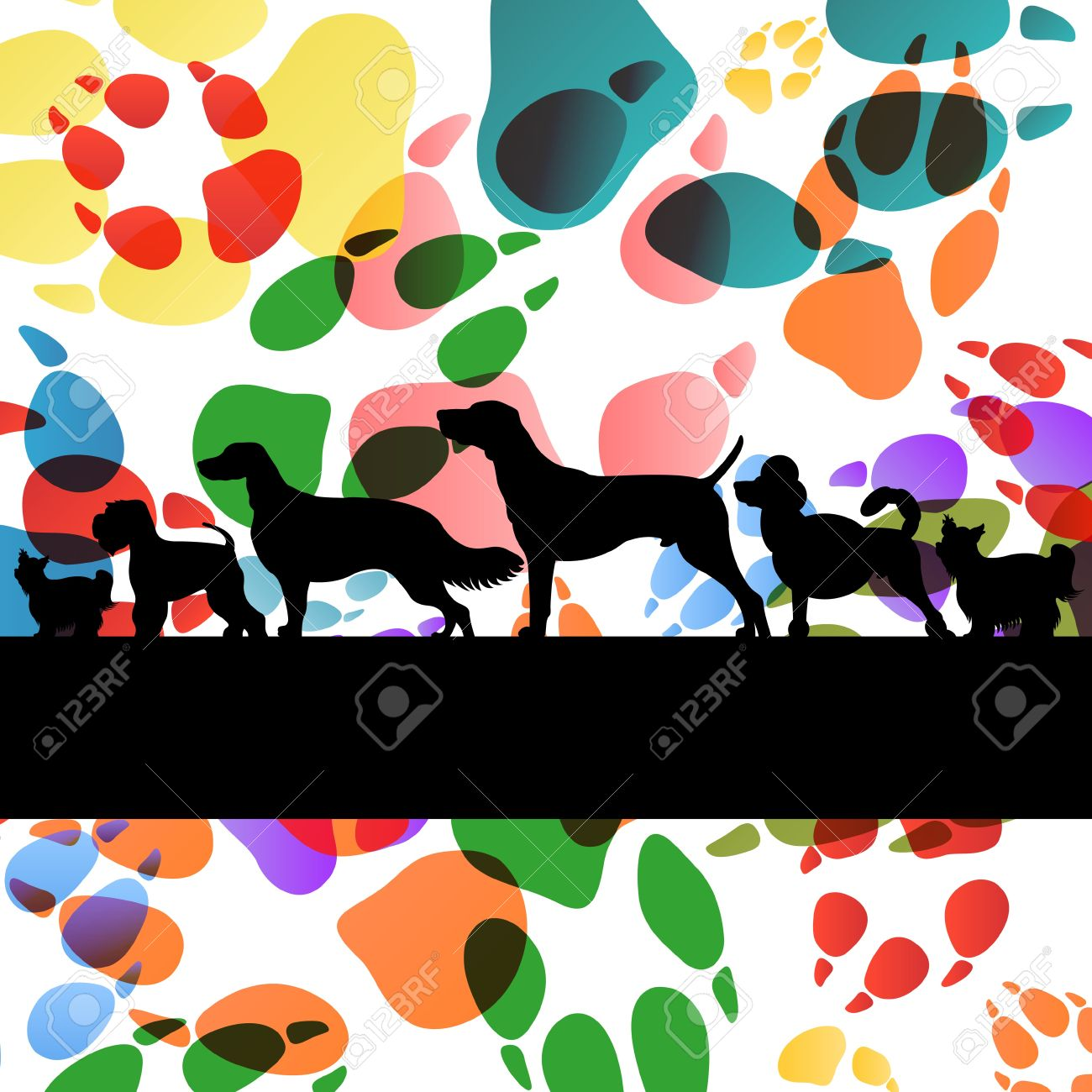 Dogs and dog footprints silhouettes colorful illustration collection background vector Stock Vector - 17871224