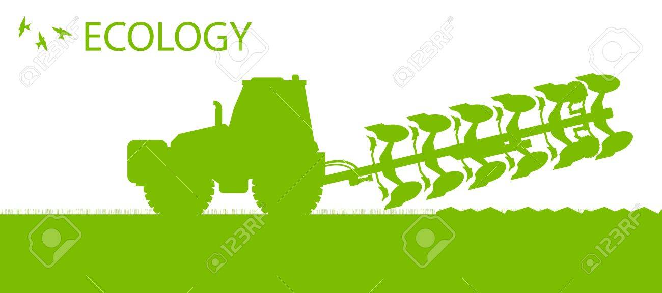 Agriculture tractors plowing the land in cultivated country fields ecology vector concept Stock Vector - 18580902